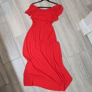 Sugar +Lips Red Maxi Light Off the Shoulder Dress